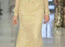 فستان سهرة شتوي مبطن بذيل متوسط من محلات online مكة مول  سايز (38)