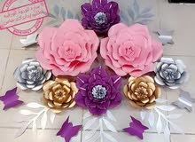 ديكورات من الورود الورقيه