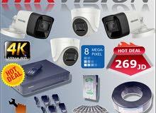 نظام 4-كاميرات نوع Hikvision بوضوح 8MP مع كامل مستلزماتهم