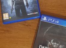 Uncharted 4 عربي و Dark souls 2 للبيع بسعر مميز