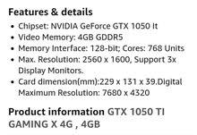 كرت شاشة MSI GTX1050ti 4G