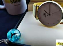 ساعة + سلسلة فضة