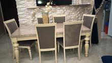 طاولة 6 كراسي سطح الطاولة رخام