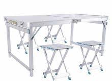 طاولة وكراسي المنيوم