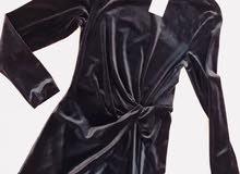 فستان اسوووود قماش شاموا جديد تركي ...راقي جدآ وعصري قطعتين لف