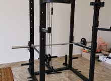 Power rack, 100kg weight plates, chair and 2.18m Olympic bar for sale