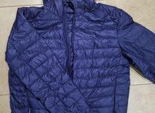 جاكيت معطف قماش دافئ ضد المطر قابل للطي لون أزرق غامق مع غطاء للرأس