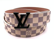 LV White Checks Black Buckle
