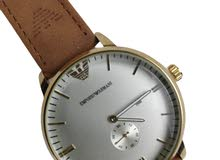 ساعة انالوج عقارب رجالي – سوار جلد مقلوب هافان -ماركة Emporio Armani
