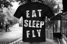 تي شيرت EAT SLEEP FLY مناسب لجميع  المناسبات+مجموعة مميزة من التيشيرتات