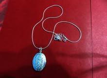 سنسال صورة فضة  مع تعليقة صورتين جديد للبيع 925 Silver Necklace Pendant