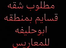 مطلوب شقه بمنطقه ابو حليفه بشرط قسايم للمعاريس