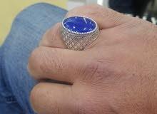 خاتم فضة وعقيق ازرق يمني مميز