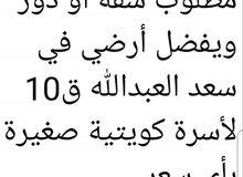 مطلوب شقة أو دور ويفضل أرضي في سعد العبدالله ق10 لأسرة كويتية صغيرة، بأي سعر