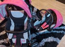 عربة اطفال دبل+كرسي اطفال