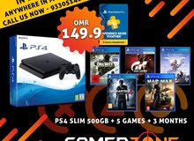 PS4 500 gb with 5 games and 3 months Psn bundle offer