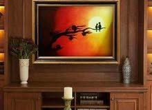 لوحة ألوان زيتي من أعمالي بعنوان غروب الحب الحجم 40×80