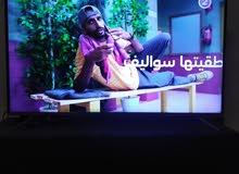 شاشه 50 بوصه مع الطرابيزه مع الريسيفر مع طبق استقبال اشاره مع رأس استقبال اشاره