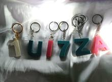 keychain letter and numbers handmade with love