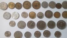 مجموعة قيمة لعملات عربية قديمة 46 عملة معدنيه