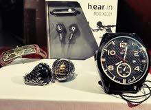ساعة ضد الماء دبل تايم+خاتم ستانلس لا يكلح عدد2 + سماعة جوال رياضية+ اسوارة رجال