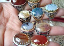خواتم فضة وعقيق يمني أصلي 100% Original Yemeni silver and agate rings
