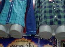 قميص رجالي قطن مغسول كاروة ومقلم وسادة مقاسات لارج واكس لارج و2إكس لارج