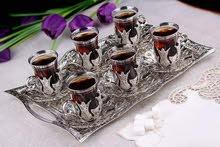 اطقم شاى و قهوه براند سينا صناعه تركى مطلى فضه ومحتوم كل القطع فورى