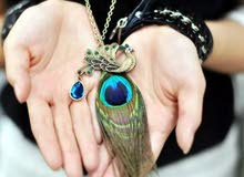 PEACOKE FEATHER NACKLES SET WITH EARING
