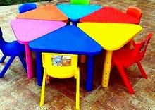 طاولات بلاستك  اربع وست اقسام تشكيل دائره
