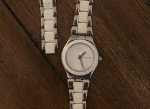 Swatch TRESOR BLANC Silver & White St.Steel Silver Dial For Women