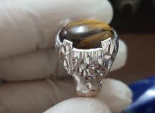 خاتم فضة بحريني وحجر عين النمر افريقي