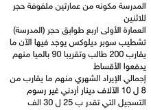 مدرسة خاصة للبيع في. الأردن بسعر محروق