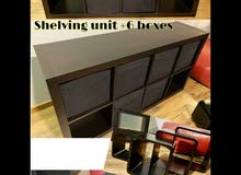 for sale shelving unit with 6 boxes with 4 frames from ikea 30 bd for all