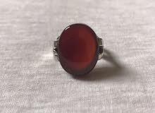 للبيع خاتم عقيق يماني احمر