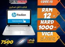 laptop hp core i5 ram 12 hdd 1000 جيل خامس لالعاب 2016 وبرامج الجرافيك / شاشة تاتش
