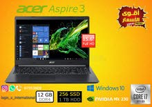 للبيع لابتوب جديد حق التعليم ACER Aspire Core i7/Ram 12 GB/256 GB SSD+1TB HDD 2 GB Nvidia
