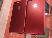 ايفون 7 بلس 128 و 256 جيقا لون احمر مستعمل بحاله جديد + كفاله سنه
