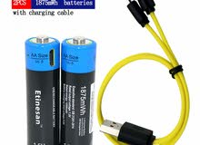2pcs*Etinesan 1875MWH AA li-polymer rechargeable battery + USB charging cable