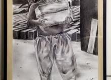 لوحة فنية مرسومة يدويا