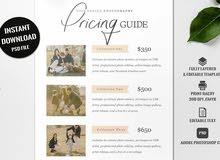 بيع نشرة دليل الأسعار أو pricing guide flyer