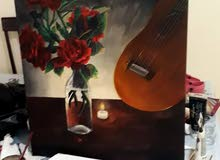 romantic roses, guitar and candles painting