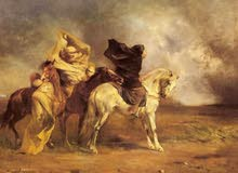 Stunning Oil painting Arabs horsemen & horse Encounter in the desert sandstorm