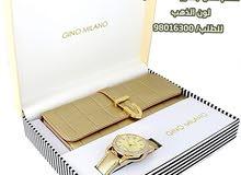 طقم هدية شنطة جلد طبيعي جودة عالية + ساعة جينو ميلانو