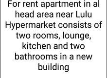 شقه للاجار في منطقة الحد تتكون من غرفتين صاله حمامين ومطبخ  بنايه جديده يوجد لفت