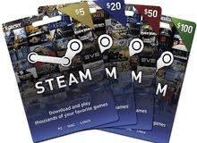 متوفر بطاقات Steam المتجر الامريكي.(كاش.رصيد).