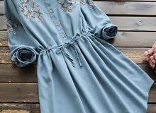 فستان جينز كتان جديد خامه تحفه مقاسين معظم الالوان سعر المصنع