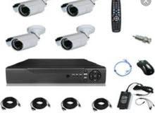 كاميرات مراقبة اربع كاميرات خارجية مع تركيب مشاهدة على جوال وعلى شاشة