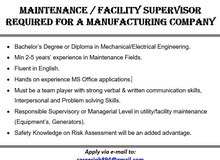 MAINTENANCE / FACILITY SUPERVISOR REQUIRED FOR A MANUFACTURING COMPANY