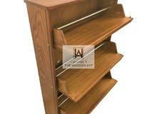 خزانة احذية (ذا وودن ارت) خشب طبيعي 100% - ثلاثة باب لون بني